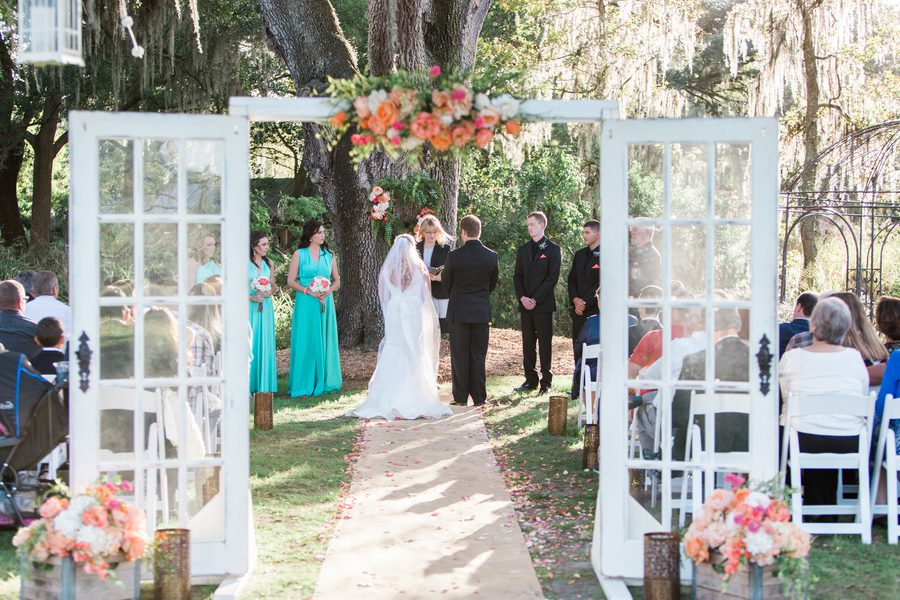The Ceremony Was Outdoors In Front Of Gazebo Dinner And