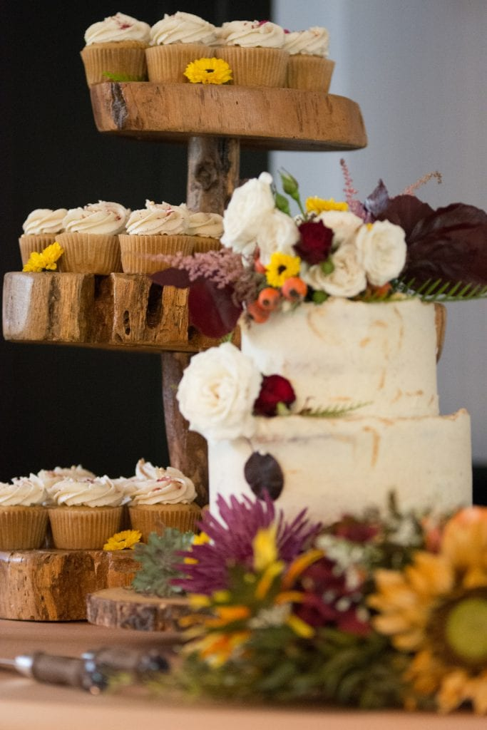 White Autumn wedding cake