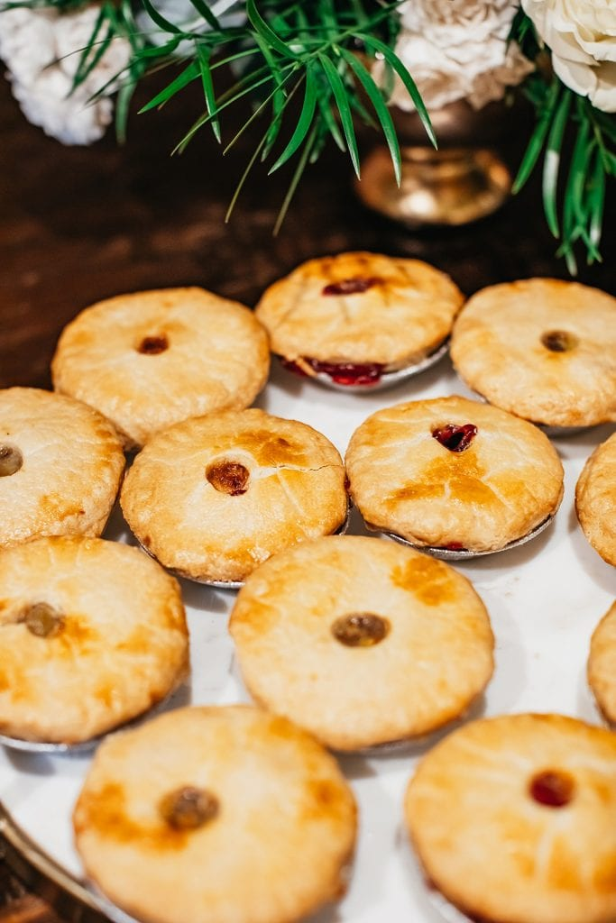 Mini pies for wedding desserts