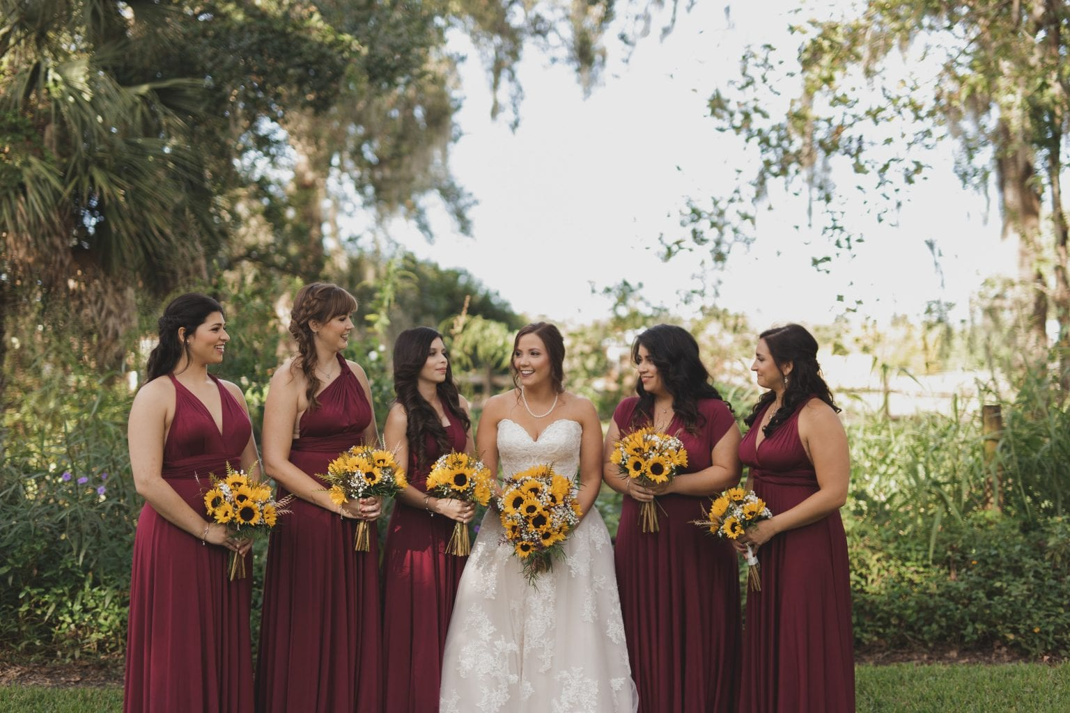 Burgundy dress for an Autumn wedding