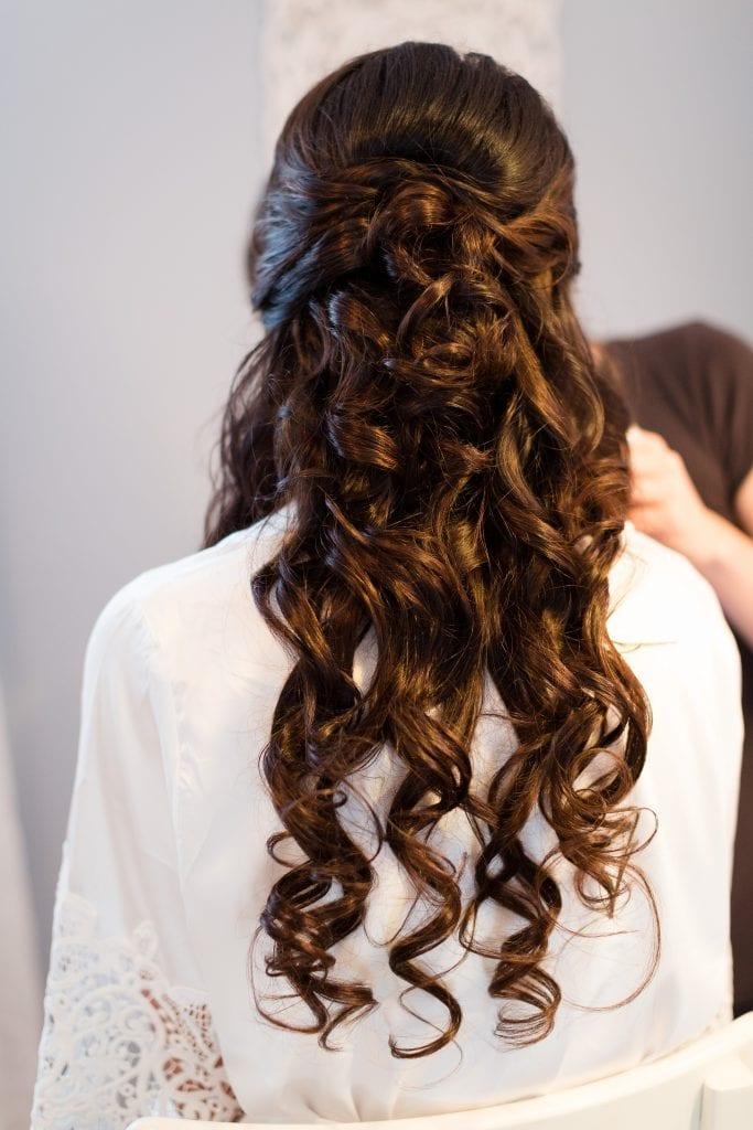 Half up half down wedding day hair