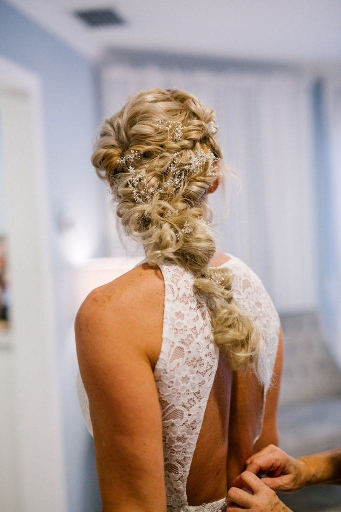 Pulled back intricate wedding day hair