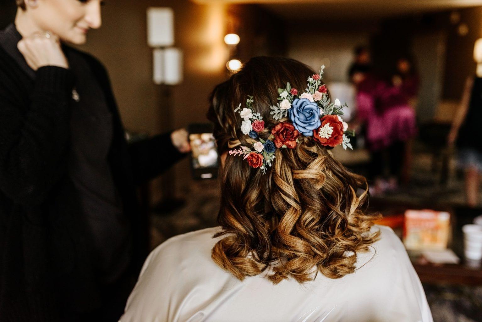 Short hair wedding hairstyle