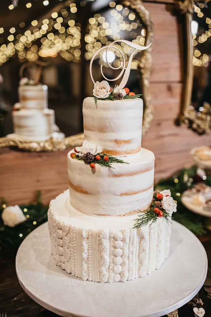 Holiday inspired wedding cake