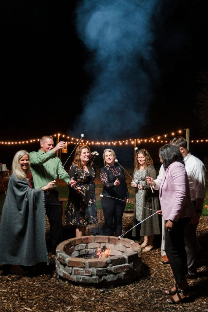 Winter wedding with a bonfire and s'mores