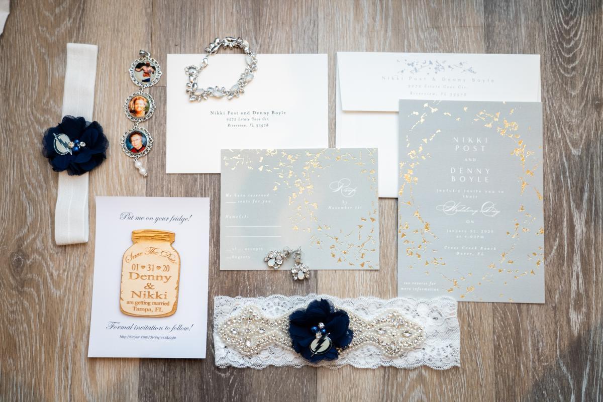 Elegant foil wedding invitations