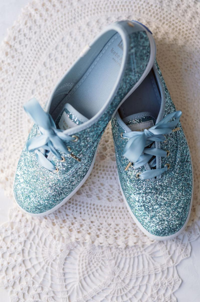 Sparkly blue wedding shoes