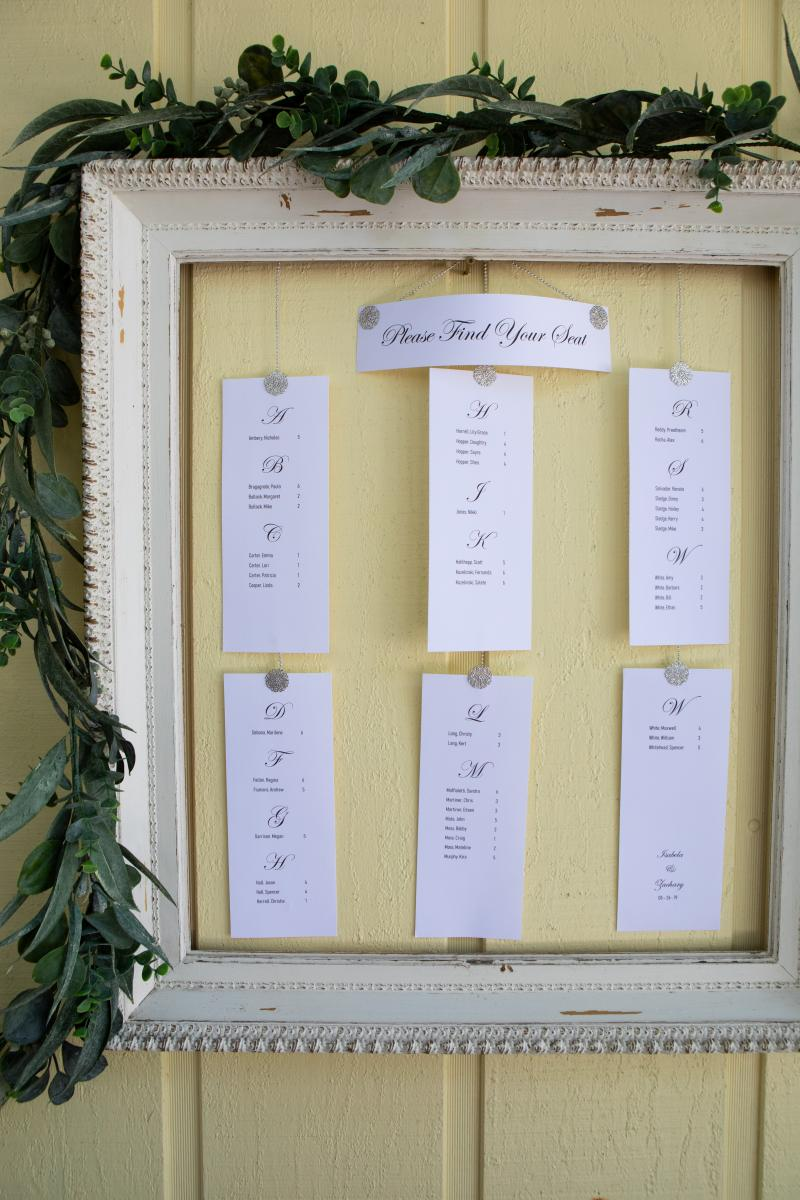 Printed seating chart at the French Country Inn