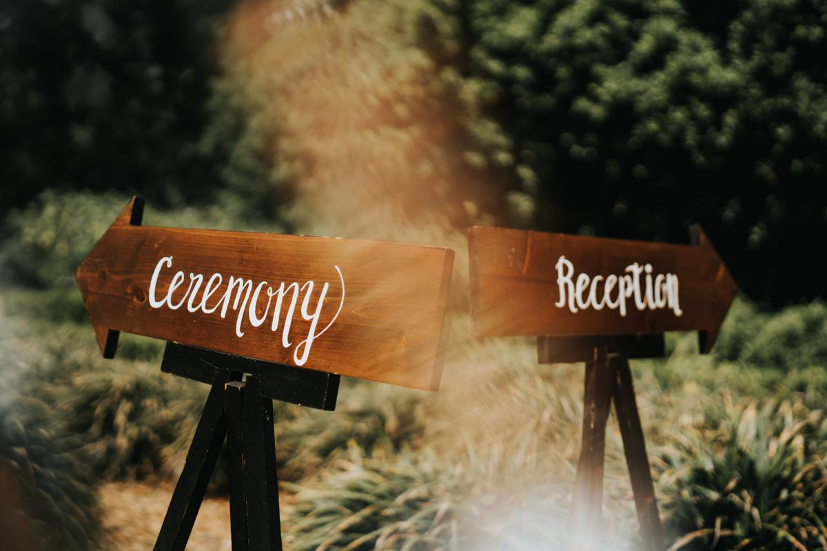 Ceremony and reception signs at Cross Creek Ranch