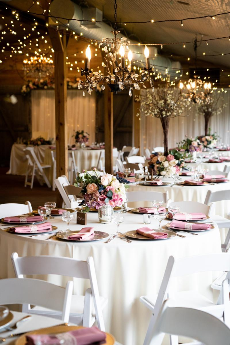 Dusty rose and mauve wedding centerpieces