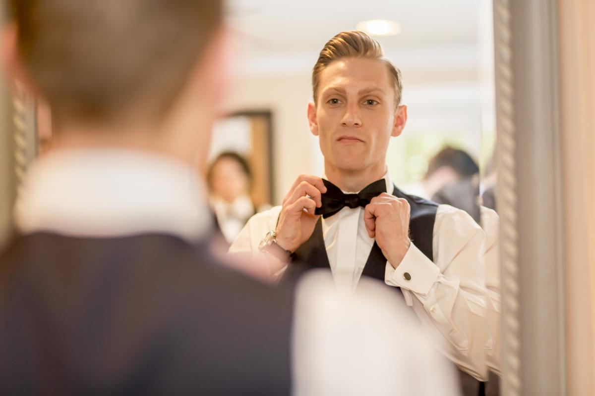 Steven getting his bowtie on