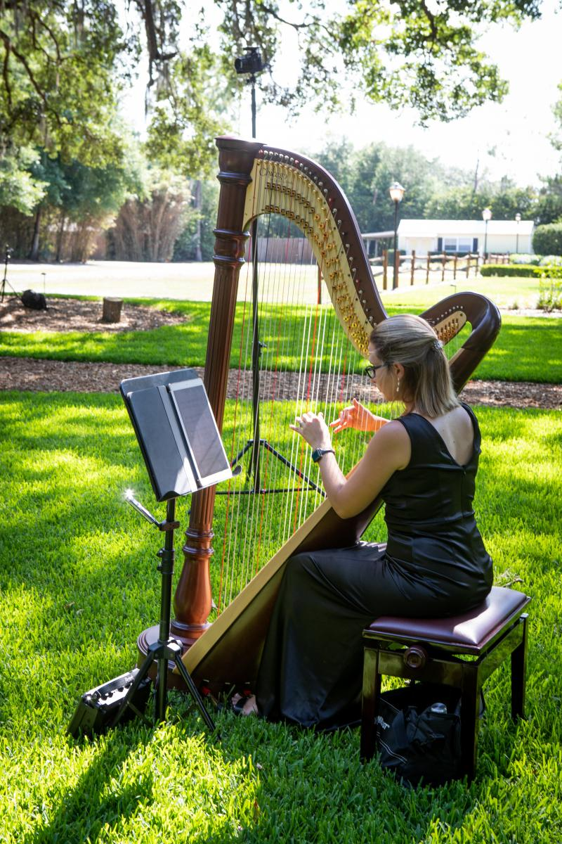 A harpist playing during the ceremony processional