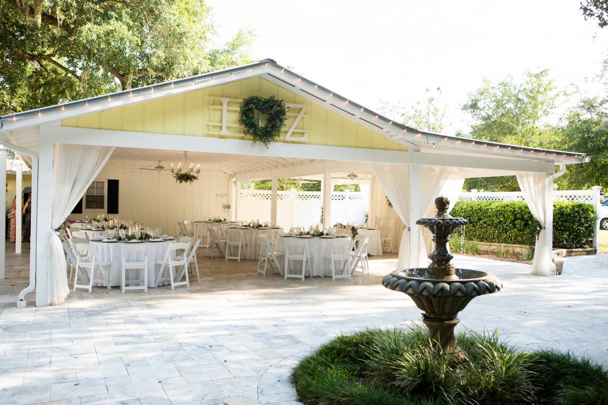 The darling outdoor reception space at the French Country Inn