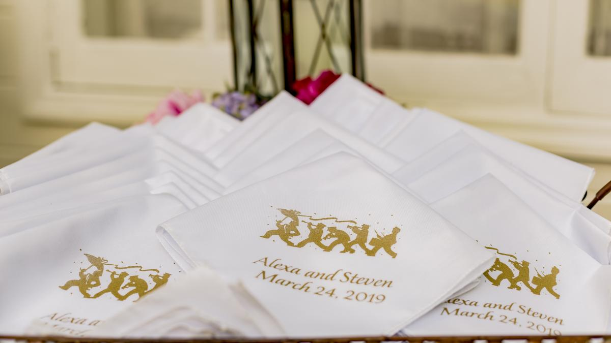 Handkerchiefs given to guests for their tears of joy and the second line parade