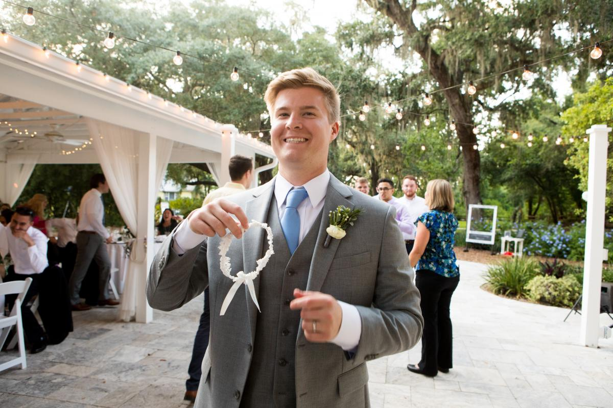 Zach getting ready to throw the garter