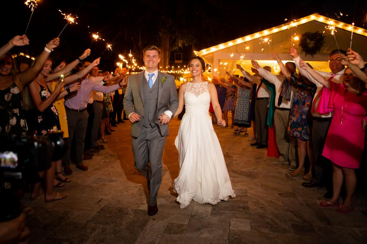 Sparklers for Isabela and Zach's grand exit