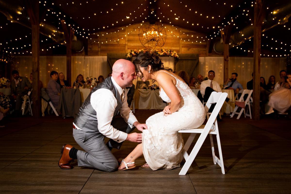 Wedding reception garter removal