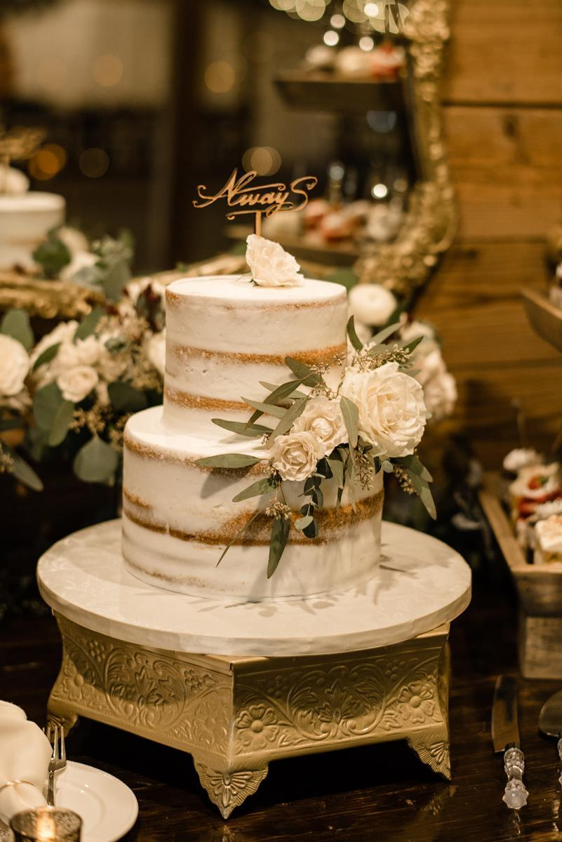 Romantic semi-naked wedding cake