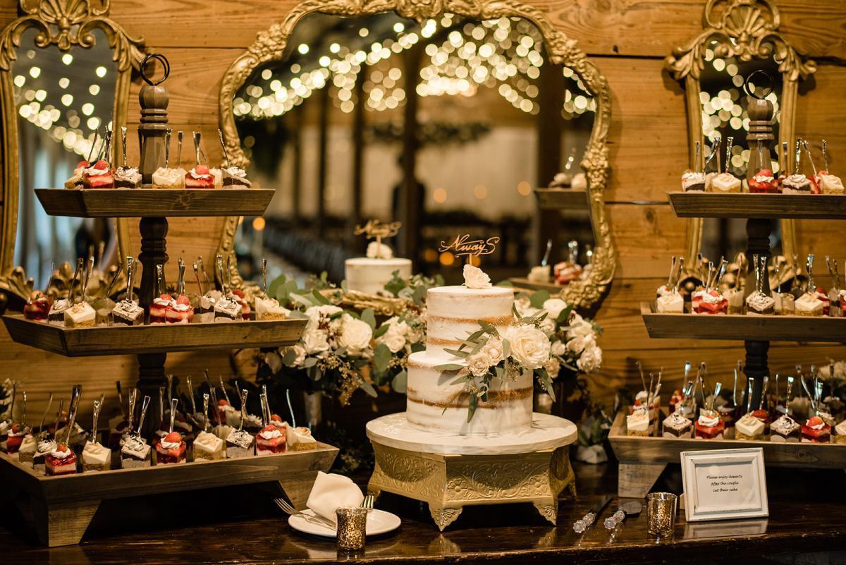 Romantic wedding cake table display