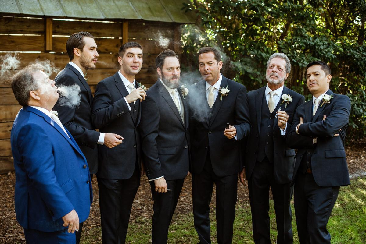 Nick hanging out with his groomsmen