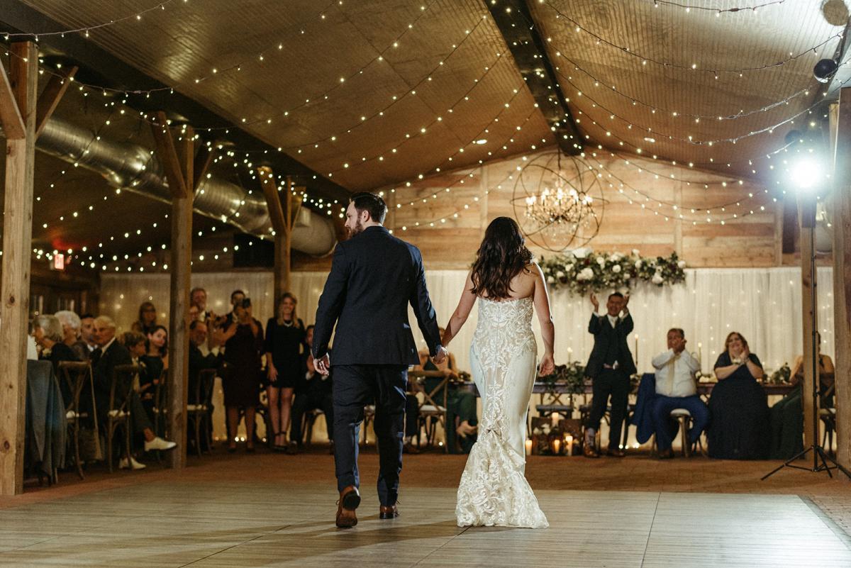 Nick and Savannah's romantic emarald green wedding reception