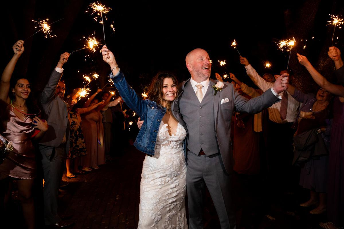 Grand wedding sparkler exit