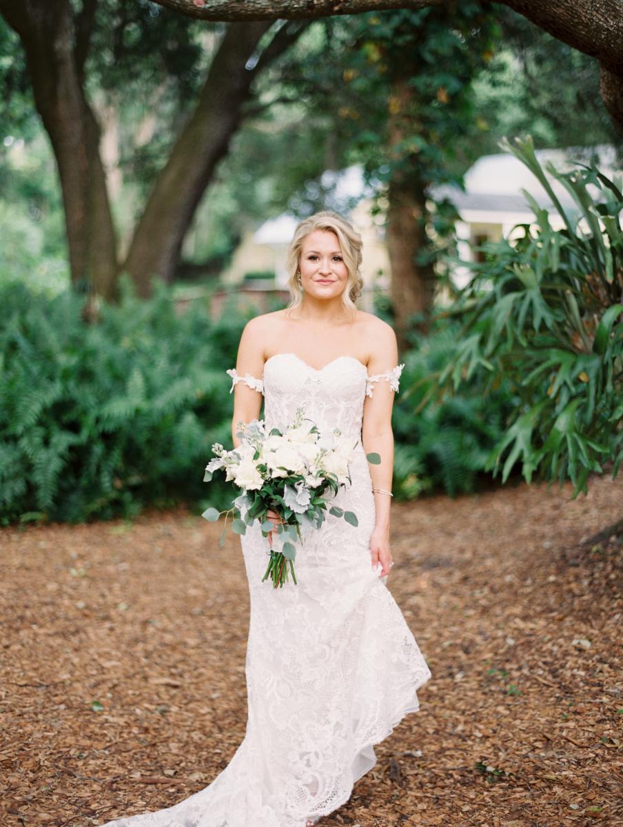 Krista in a sweetheart neckline all lace modern wedding dress
