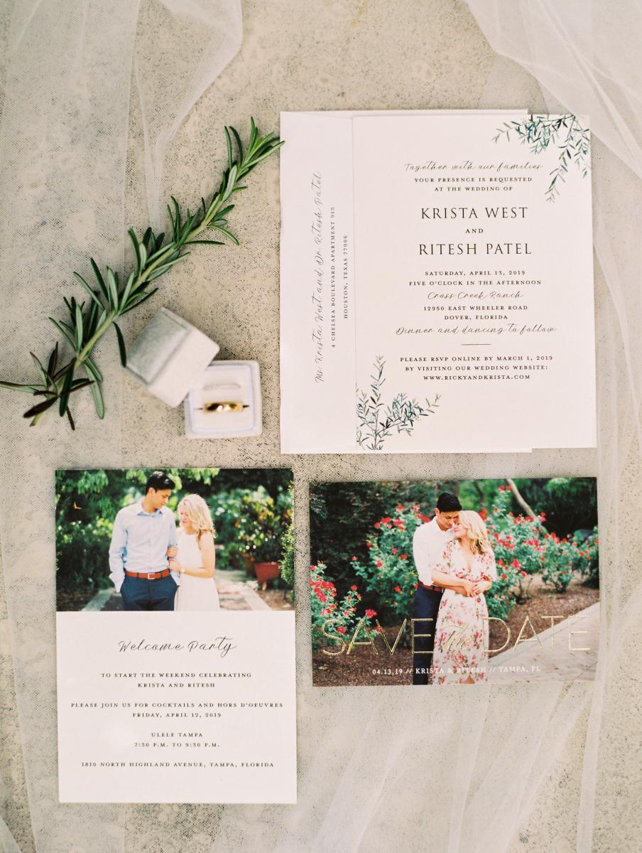 Ricky and Krista's modern Florida ranch wedding invitations