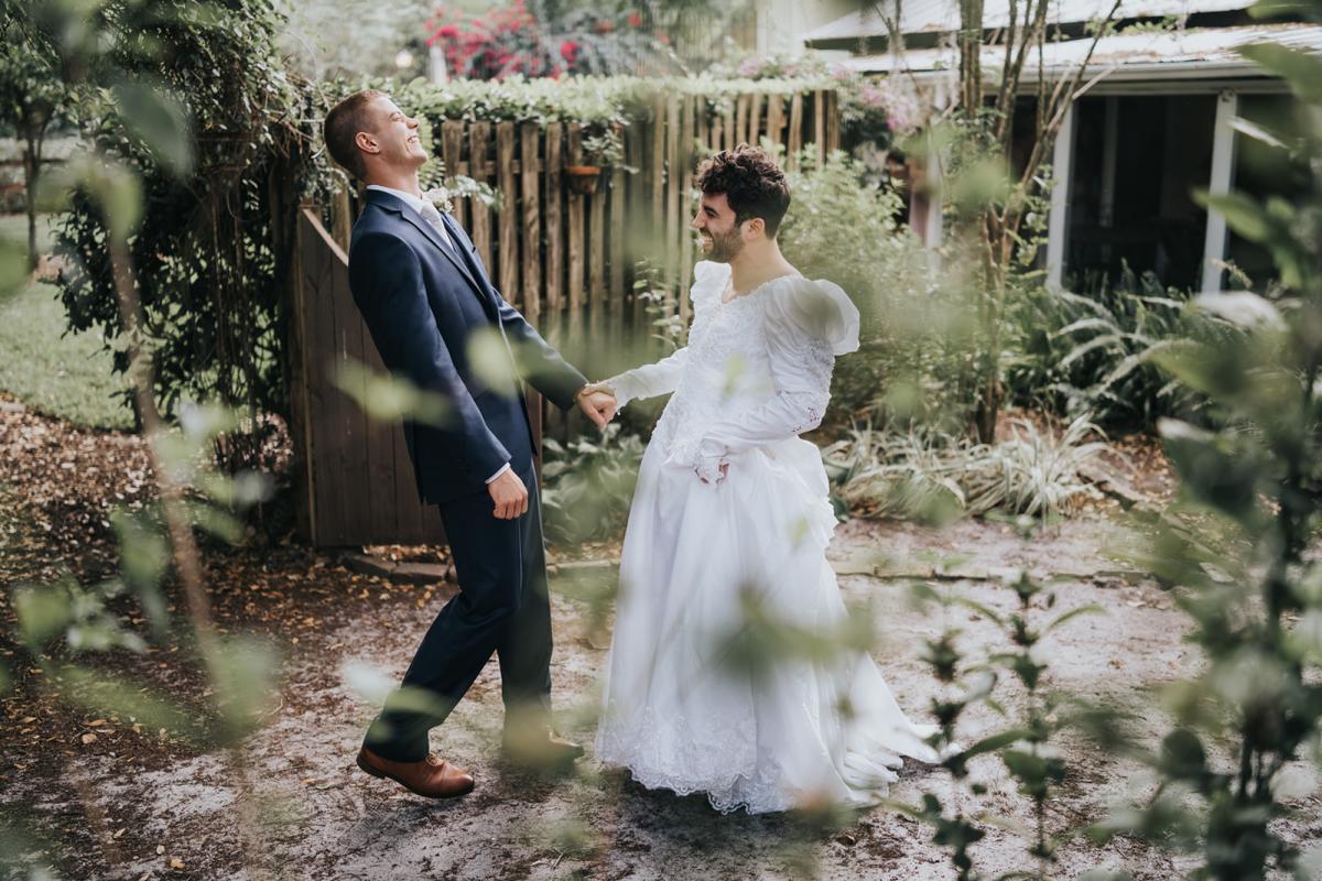 Sean's best man suprising him in a wedding dress