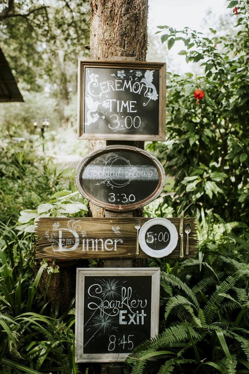 Wedding day timeline for the guests to read