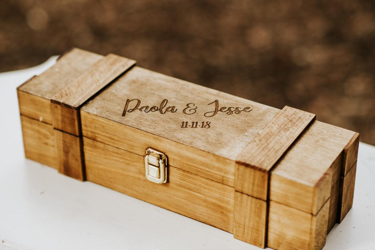 The wine box Paola and Jesse used for their wine box ceremony