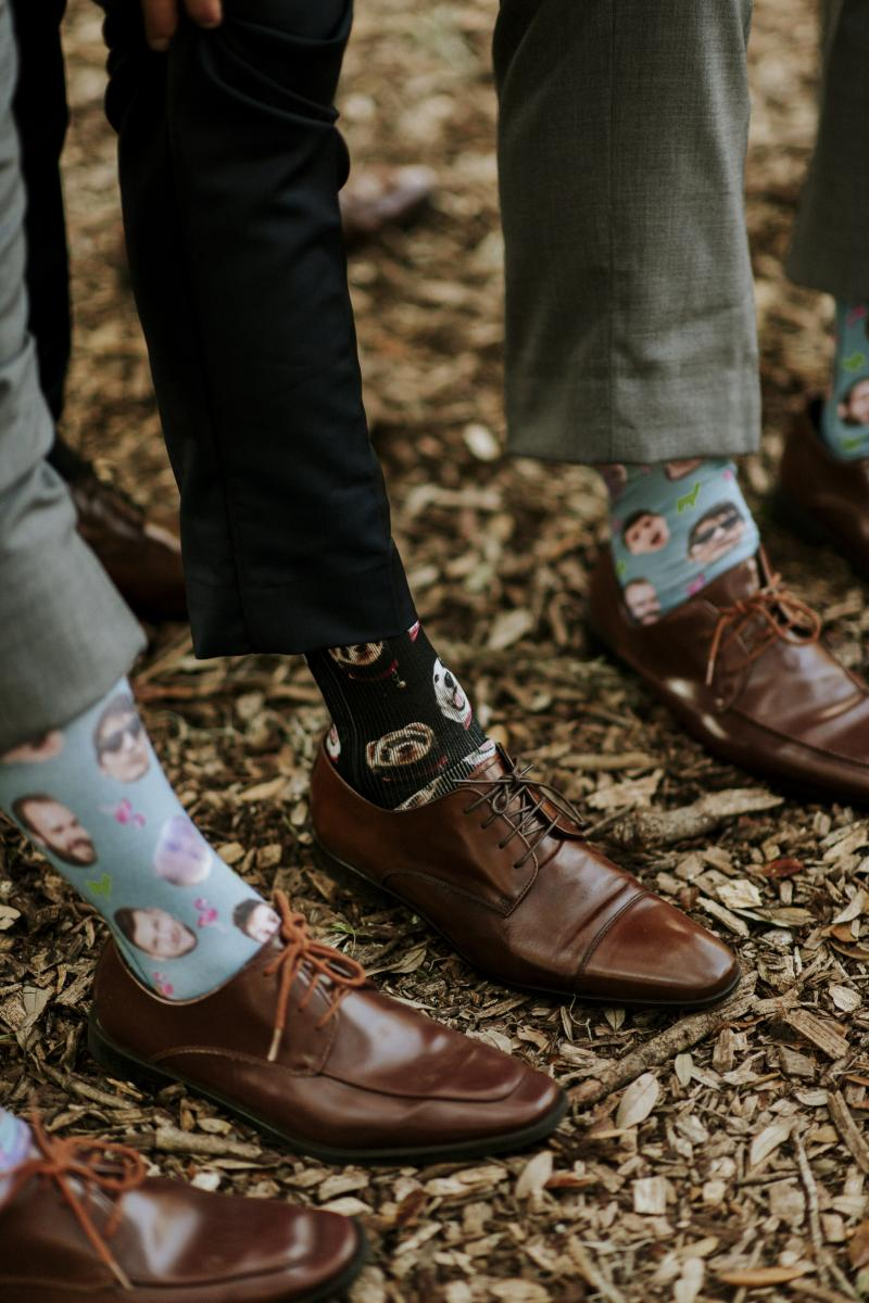 Groomsmen socks on wedding day
