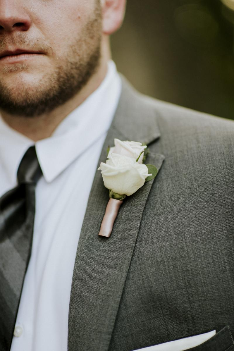 Groomsmen boutonniere for Paola and Jesse's wedding