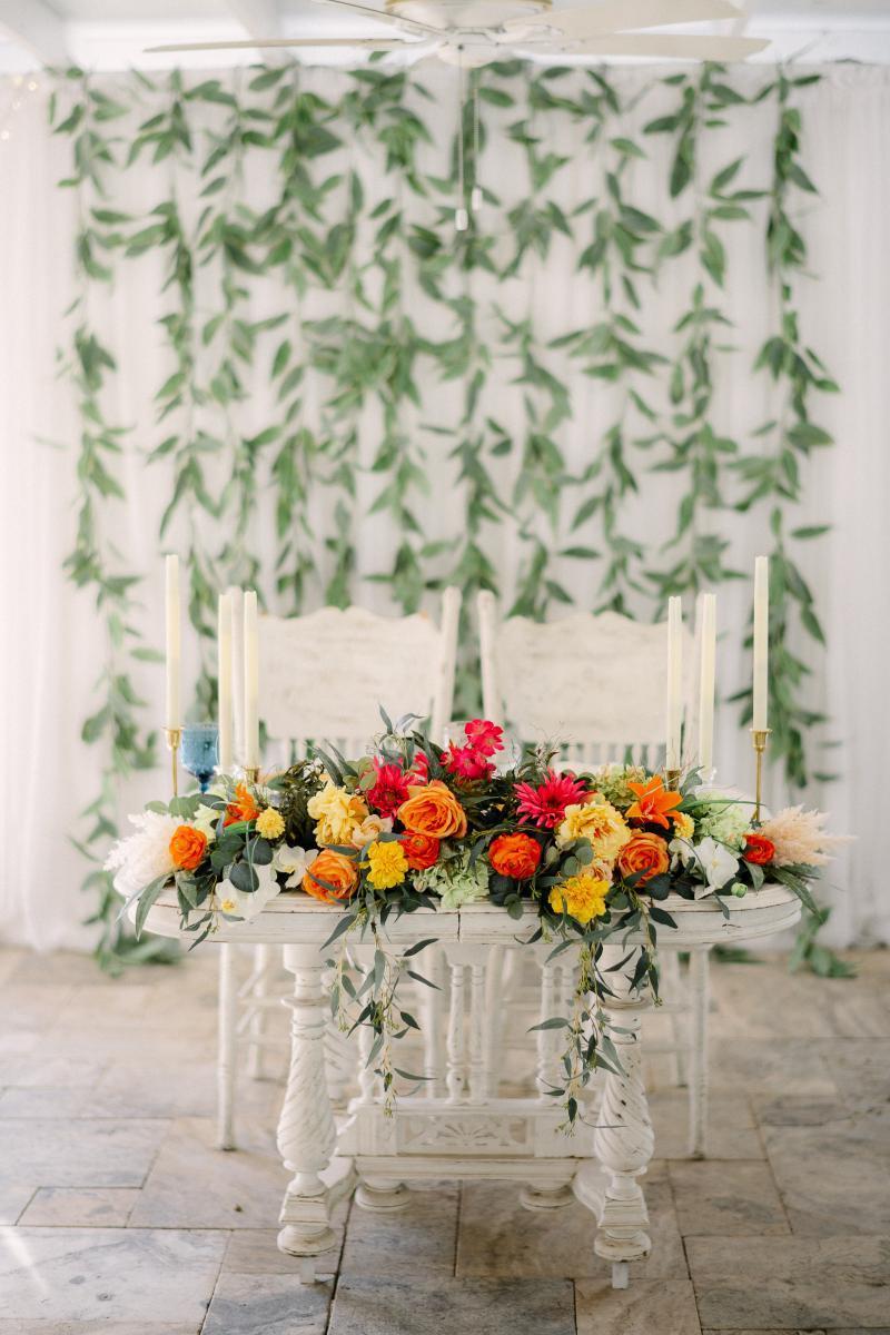 tropical wedding sweetheart table