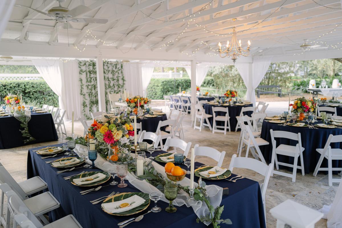 Tropical-inspired wedding reception decor