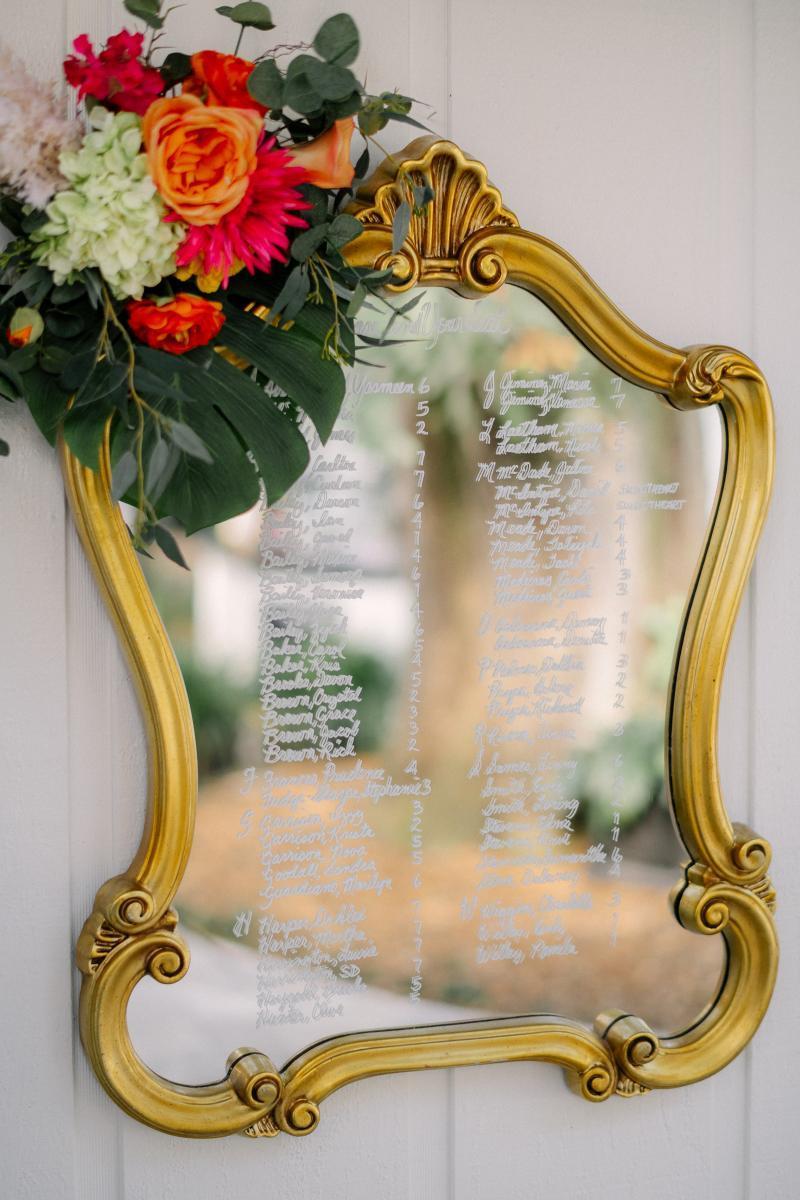 Tropical wedding seating chart