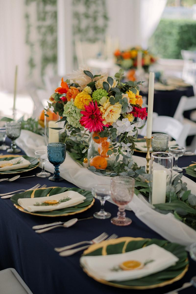 Colorful and tropical wedding ceremony