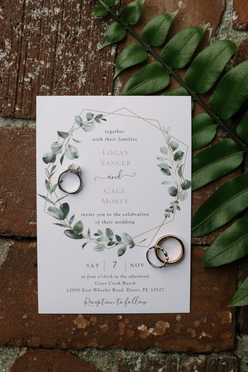 Modern greenery wedding invitations