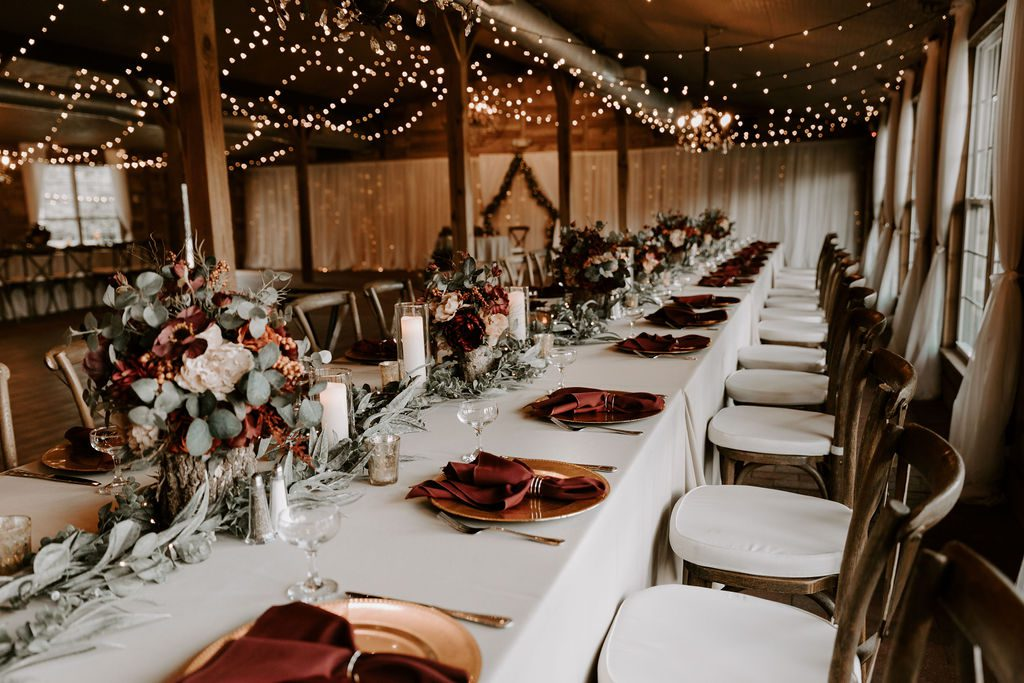 woodsy autumn reception decor