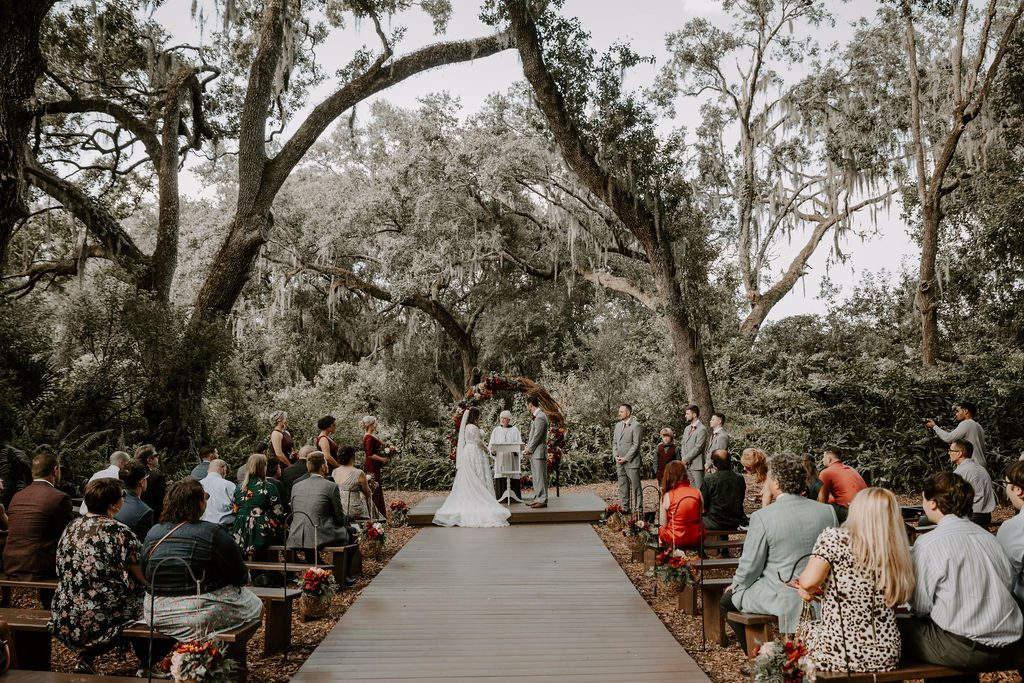 woodsy autumn wedding ceremony