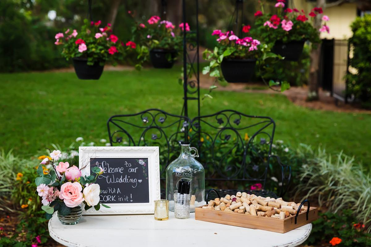 Andreina + John's welcome table with their guest book
