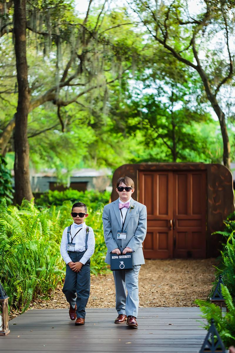 The ring bearer's walking down the aisle