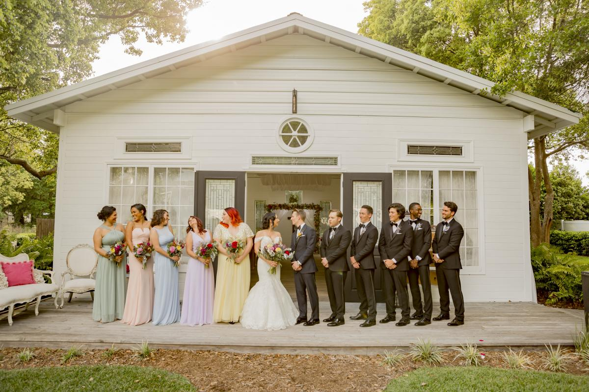 Alexa and Steven with their wedding party