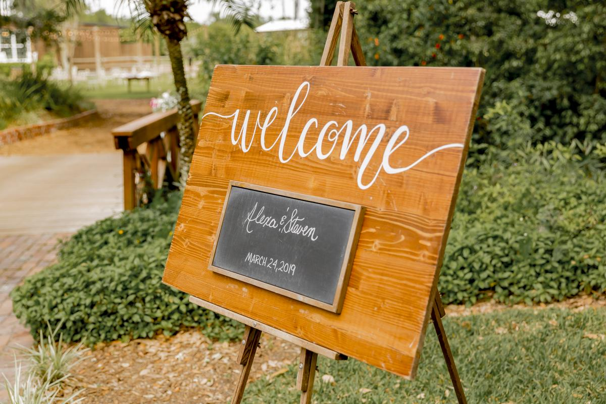 Welcome to the wedding of Alexa and Steven sign