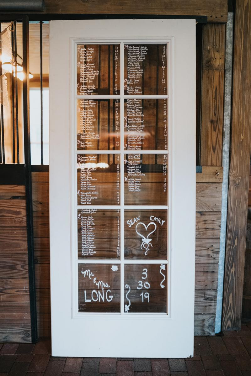 Sean & Emily wedding seating chart
