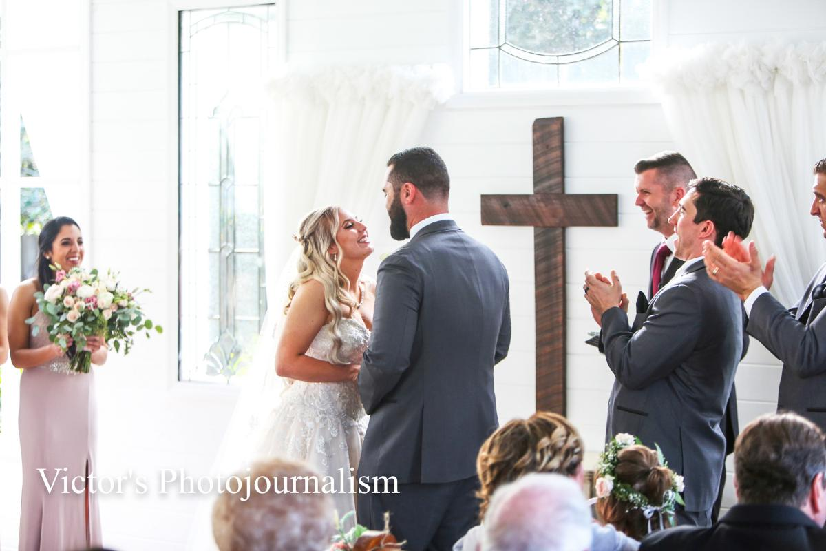 Jenna and Jeremy during their ceremony at the Chapel