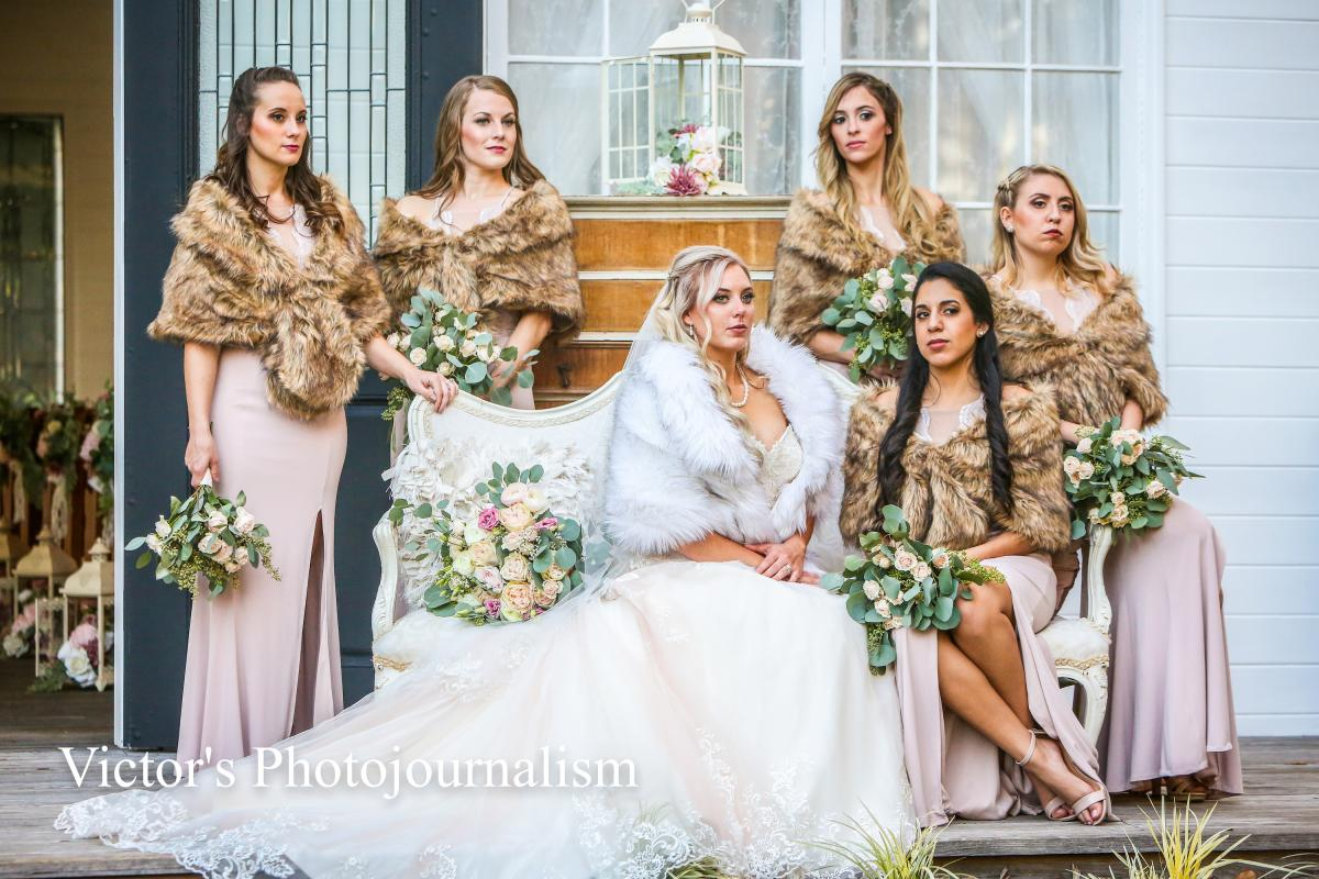 Jenna and her bridesmaids wearing faux fur shaws