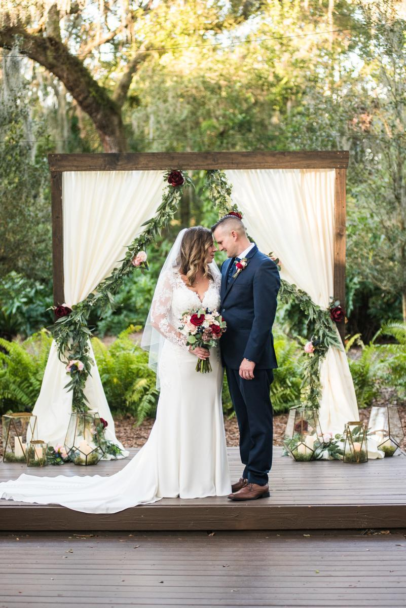 Wooden framed ceremony arch