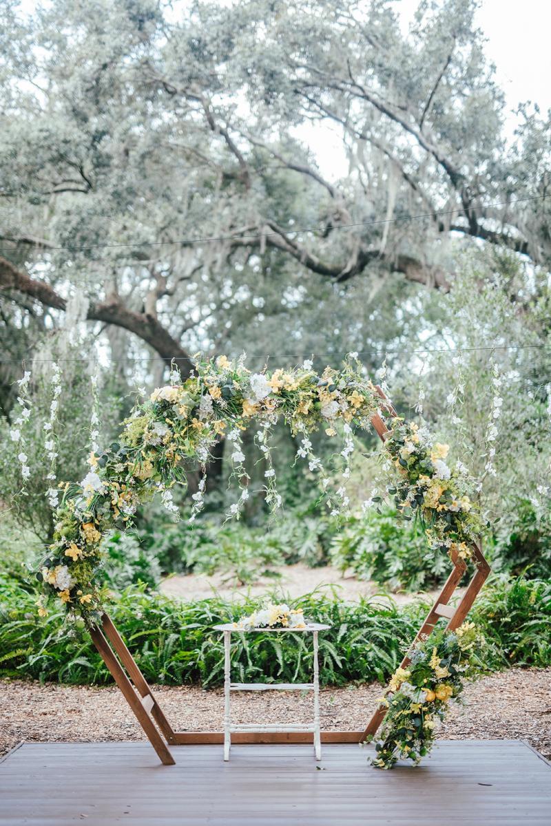 Bright wedding ceremony decor and flowers
