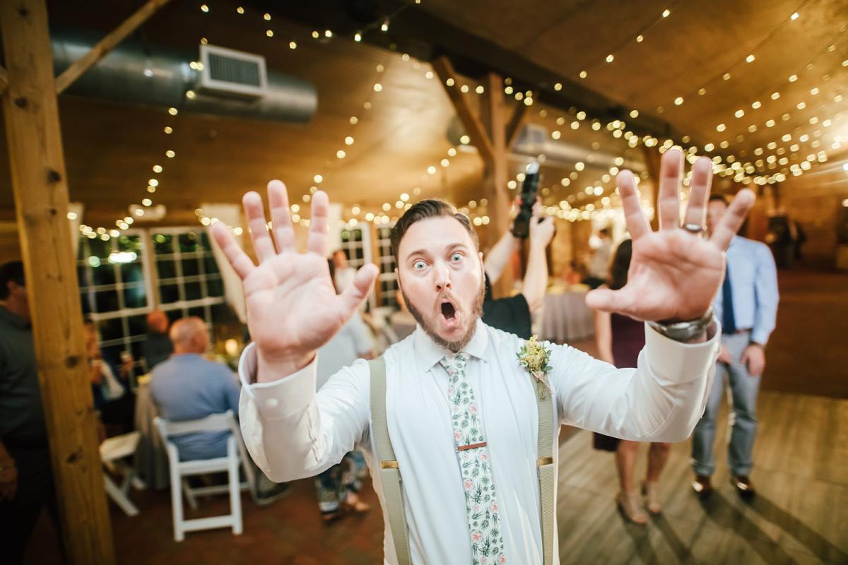 The groom having fun!